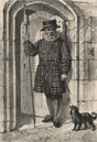 A Beefeater at the Tower, London c1880 old antique vintage print picture